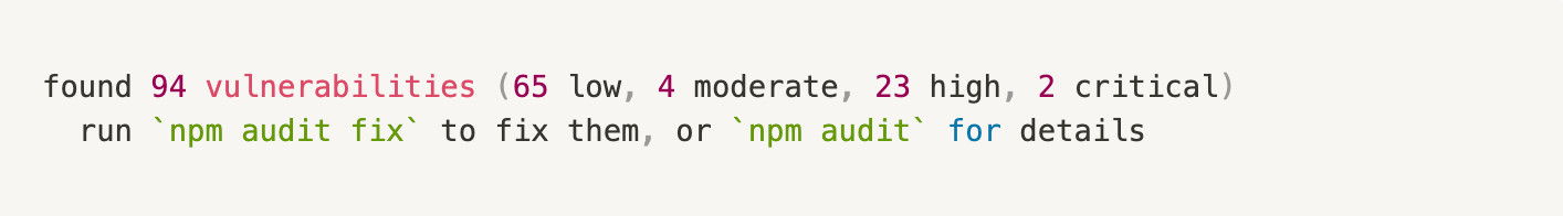 npm command vulnerabilities summary