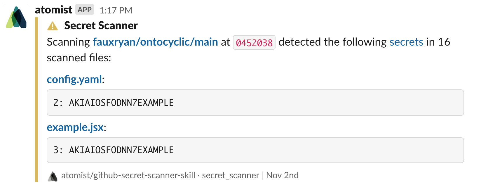 Slack direct message with secret detected alert